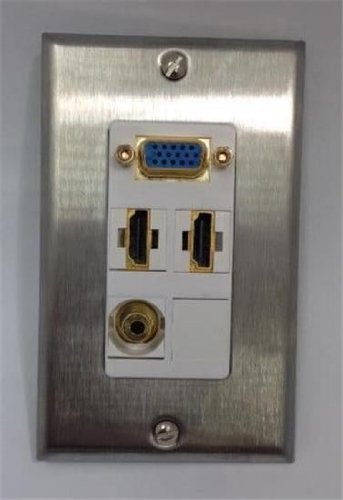 Certicable Custom Stainless Steel Single Gang Wall Plate 2- HDMI + 1- VGA DB15 + 1-3.5mm
