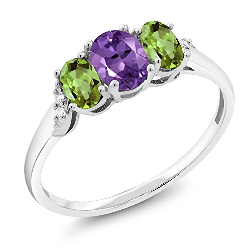 Gem Stone King 10K White Gold 0.90 Ct Purple Amethyst Green Peridot 3-Stone Ring With Accent Diamond (Size 9) ()