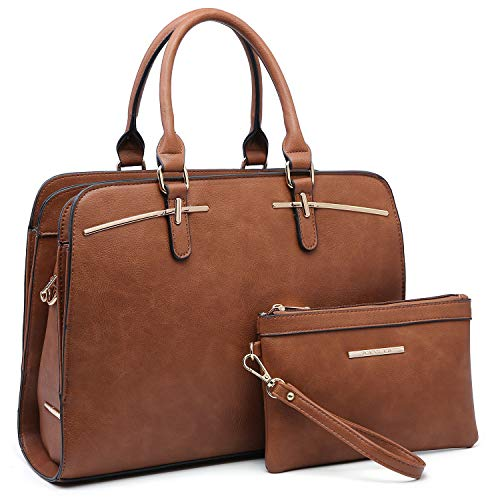 Women Handbags Satchel Purses Top Handle Work Bag Briefcases Tote Bag With Matching Wallet (2-Brown)