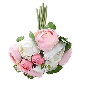 BESTOYARD 10pcs Artificial Flowers Camellia Bridal Wedding Bouquet Bridesmaid Bride Toss Bouquet Home Decoration (Pink & White) 2