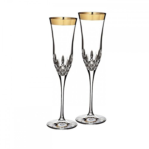 WATERFORD LISMORE ESSENCE GOLD Flute wide band pair