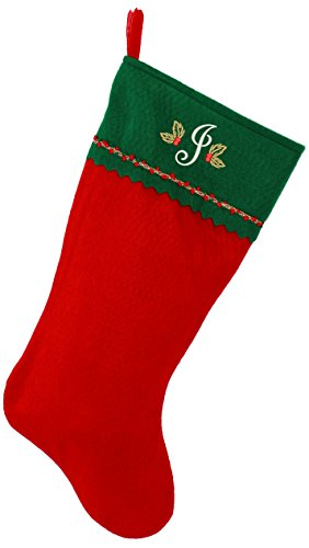 Embroidered Initial Christmas Stocking, Green and Red Felt, Initial J -