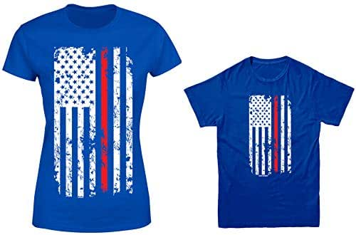 HAASE UNLIMITED Thin Red Line American Flag 2-Pack Youth & Ladies T-Shirt