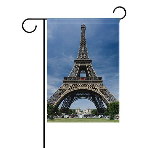 Dicobrune Garden Flag, Garden Flag Banner Architecture Building Eiffel Tower Famous Historic Landmark Monument Steel Structure 12x18 Inches Double Sided(Without Flagpole) ()