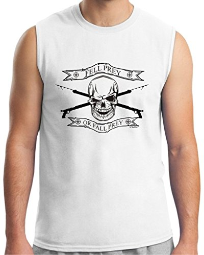 Spear Fishing Gift Fell Prey or Fall Prey Sleeveless T-Shirt Large White