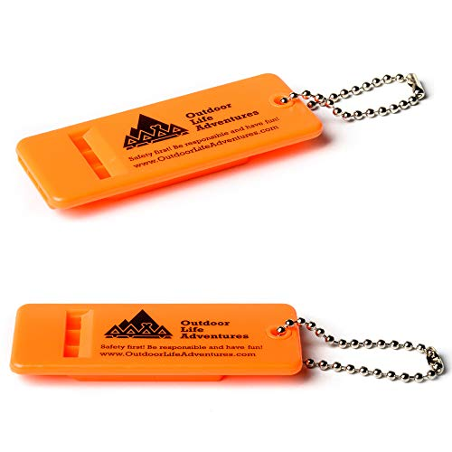 Outdoor Life Adventures Emergency Survival Whistle with Small Chain for Camping, Hiking, Boating, and Kayaking ABS Plastic Super Loud Whistles Design for Rescue Signaling - 2 Pack