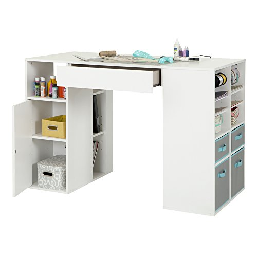South Shore Crea Pure White Counter-Height Craft Table and Stool by South Shore