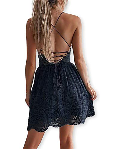 bf427c1f473c AOOKSMERY Women Sexy Summer V-Neck Spaghetti Straps Lace Backless Mini  Party Club Beach Dresses