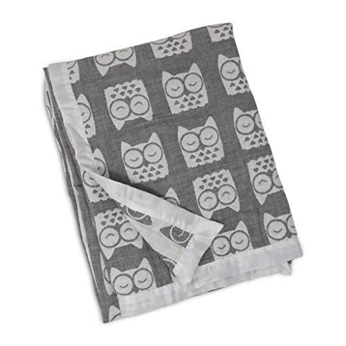 Living Textiles Muslin Textured Grey Owl Baby Blanket,]()