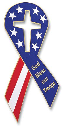 Autom God Bless Our Troops Stars and Stripes American Flag Ribbon Car Magnet, 8 Inch