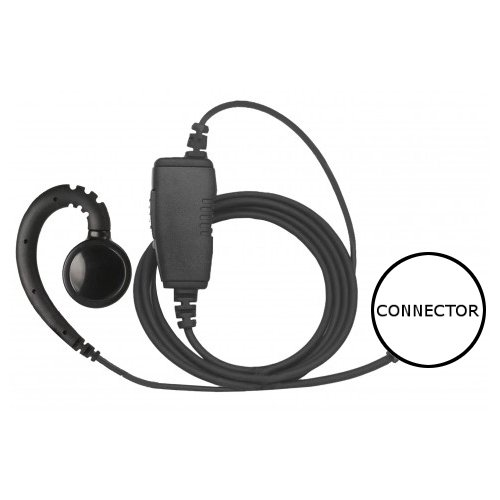 1-Wire Swivel Earpiece Mic Large Speaker + Inline PTT for Motorola EF Johnson by Earpieces