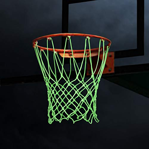 Basketball Net Replacement, Heavy Duty and Anti Whip Night Light Basketball Goal Net Glow in The Dark, 12 Loops Fits Standard Size Indoor or Outdoor Hoop Rims, Nylon and Green