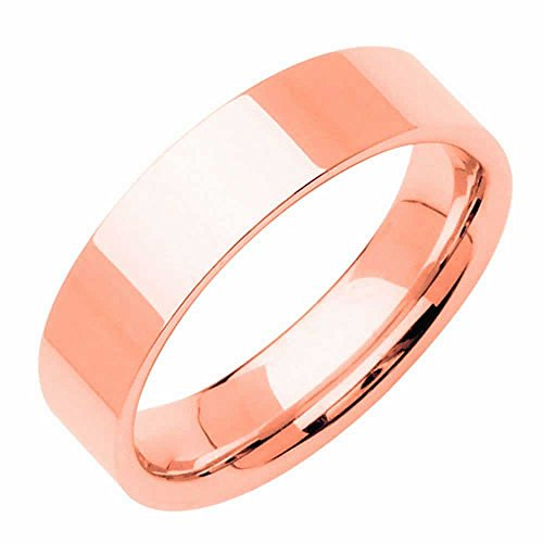 14K Rose Gold Traditional Top Flat Women's Comfort Fit Wedding Band (8mm) Size-7c1 - Rose Gold Cigar Band Ring