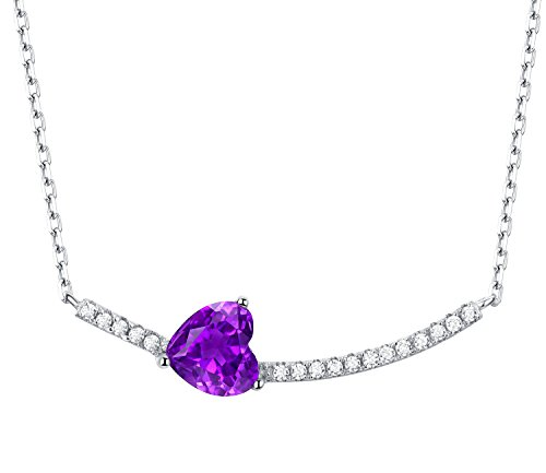 Ideal Gifts Natural Amethyst with 925 Sterling Silver Necklace Pendant,18