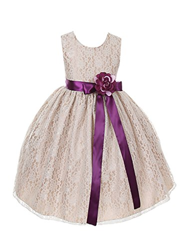 Cinderella Couture Girls Champagne Lace Dress with Plum Sash & Flw 6 (1132)]()