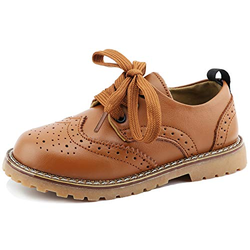 CCTWINS KIDS Toddler Little Kid Girl Boy Dress Oxford Leather Shoe(G9771-brown-23) -