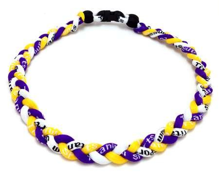 - Package of 10 Purple Yellow White Tornado Necklaces