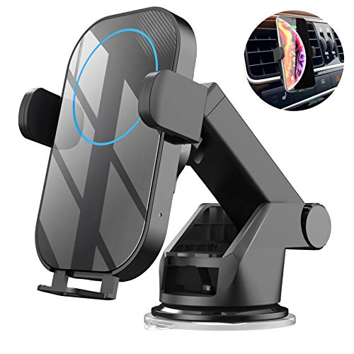CIZA Wireless Charger Car Mount, Car Phone Holder, Air Vent Clip, Windshield Dashboard, Auto Clamping, Fast Charging, 7.5W Compatible with iPhone XR/XS/XS MAX/X/8/8+, 10W Compatible with Samsung Galax