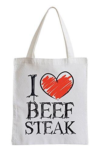 Amo le bistecche Fun sacchetto di iuta