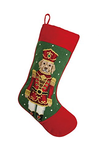 Retriever Golden Christmas Stockings (Labrador Retriever Nutcracker Christmas Stocking, Wool Needlepoint, 11 Inch X 18 Inch)