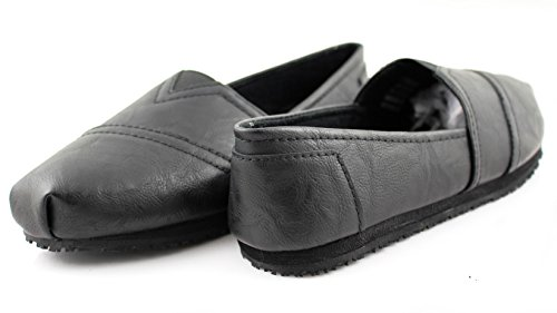 Townforst Laforst Women's Slip and Oil Resistant Non Slip Work Shoes Jess PU Leather Slip-On Flat