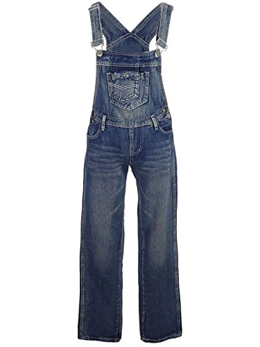 Anna-Kaci Womens Vintage Wash Straight Leg Denim Overalls with Pocket Bib, Blue, Large/X-Large