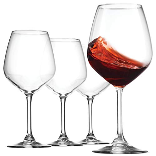Bormioli Rocco 18oz Red Wine Glasses (Set Of 4): Crystal Clear Star Glass, Laser Cut Rim For Wine Tasting, Lead-Free Cups, Elegant Party Drinking Glassware, Dishwasher Safe, Restaurant Quality from Bormioli Rocco