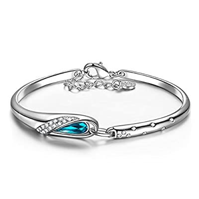 "QIANSE Glass Slipper White Gold Plated Bracelet Blue Crystals from Swarovski, Hypoallergenic Bracelets 7"", Gift Box Packaged - Buy one get Tree of Life Necklace for Free!"