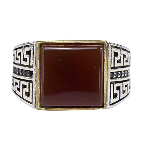 Caratera Mens Rings Men's Double Mayan Step Natural Brown Sard Chalcedony Statement Ring 925 Silver Size 10 ()