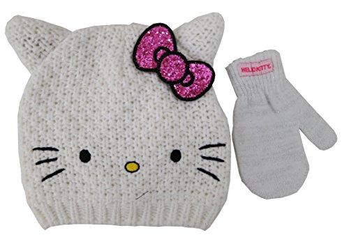 Sanrio Hello Kitty White knitted Beanie Hat and Mitten Set - Toddler [4013] ()