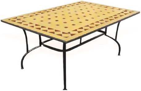 Table de jardin en acier avec plateau en marbre et ...