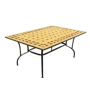 Table de jardin en acier avec plateau en marbre et décoration en ...