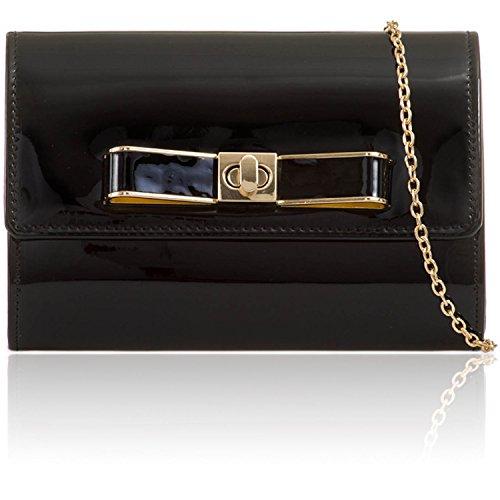 Xardi London - Borsetta da sera, da donna, con design metallico a specchio, ideale per feste nuziali e di laurea, splendido regalo per signore Black
