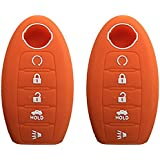 KAWIHEN 2 Pcs Silicone Keyless Entry Case Cover Smart Remote Key Fob Cover Protector For Nissan 5 button Armada Murano Maxima Altima Sedan Pathfinder 285E3-3TP5A KR5S180144014(orange)