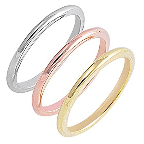 (Three Tone Trinity Stackable Sterling Silver Womens Ring Size 12)