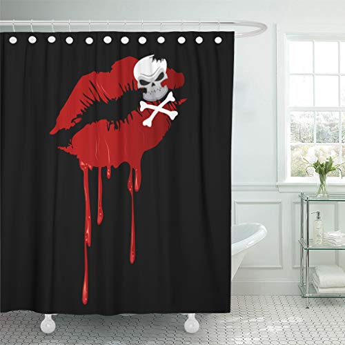 Emvency Shower Curtain 72x72 Inch Home Decor Abstract Bloody Red Kiss Lips Skull and Crossbones Makeup On Beauty Shower Hooks Set are Included]()