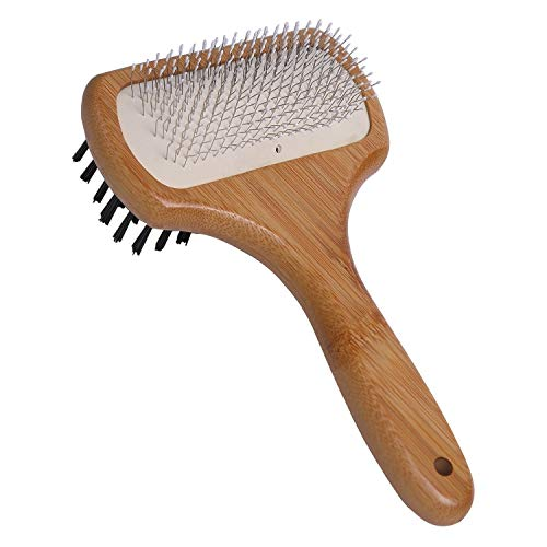 KylePet Dog Cat Brushes, Double Sided Pet Slicker Brush with Bamboo Handle for Long Hair & Short Hair Pets Grooming Comb for Removing Shedding, Tangles and Dirt