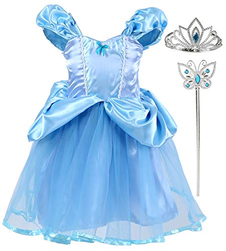 Tutu Dreams Fairy Princess Cinderella Dress up Outfits Fancy Princess Set for Toddler Birthday Party Blue (Baby Cinderella For Costume)