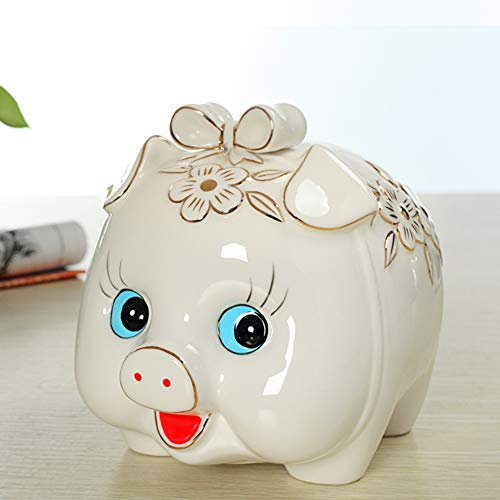 (GE&YOBBY Ceramic Piggy Bank,Cartoon Pig Money Box Handmade Painting Saving Box for Home Decor Birthday Gift-a 18x15x16cm(7x6x6inch))