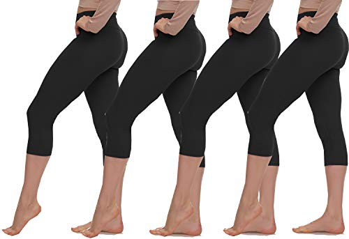 (Extra Soft Capri Leggings with High Yoga Wast - 20 Colors - Plus (One Size (XS - L), 4-Pack (Black X 4)))