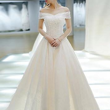 Para vestido de novia boda invierno largo cola coreano estilo conciso Sen departamento de palabra hombro