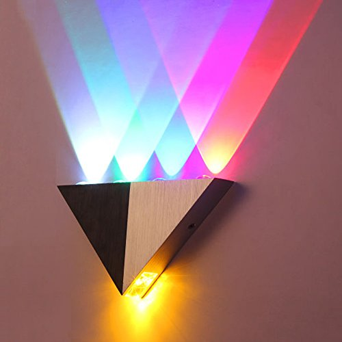 LemonBest Modern Triangle 5W LED Wall Sconce Light Fixture Indoor Hallway Up Down Wall Lamp Spot Light Aluminum Decorative Lighting for Theater Studio Restaurant Hotel (Multi-colored)