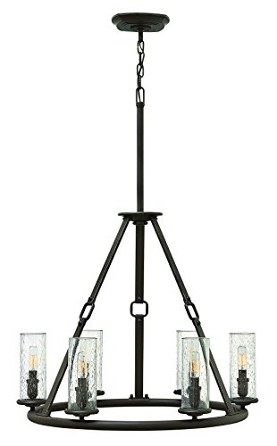 Hinkley 4786OZ Rustic Six Light Chandelier from Dakota collection in Bronze/Darkfinish, - Dakota Collection Chandelier Light Fixture