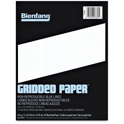 Bienfang Designer Grid Paper, 50 Sheets, 11-Inch by 17-Inch Pad, 8 by 8 Cross - Graph Cross Section