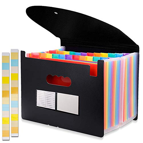 24 Pockets Expanding File Folder with Cover Accordian File Organizer Portable A4 Letter Size File Box,High Capacity Plastic Colored Paper Document Organizer Filing Folder Organizer (Folder Organizer Expanding)