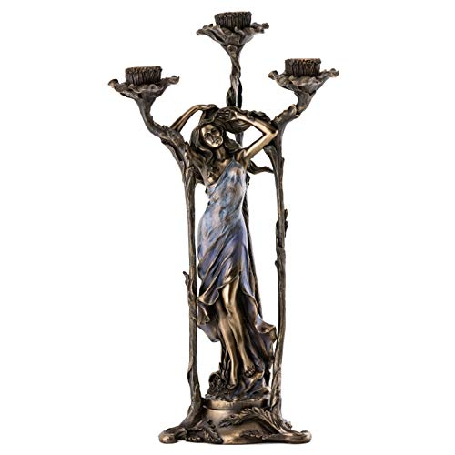 Top Collection Art Nouveau Decorative Lady Candelabra Statue in Blue Dress - Hand Painted Beautiful Flower French Women in Premium Cold Cast Bronze - 15-Inch Collectible Candle - Art Collectible Hand Painted Plate