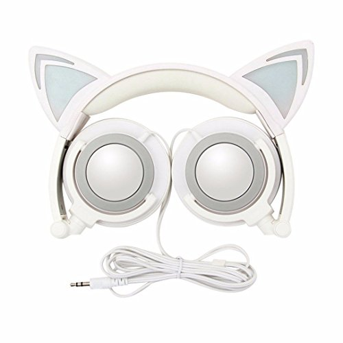Cat Ear Wired Flashing Light Earphones Foldable Adjustable Hearsets Flash Blue Light for kids white grey