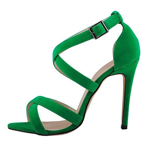 MERUMOTE - sandalias mujer Faux Suede-Green