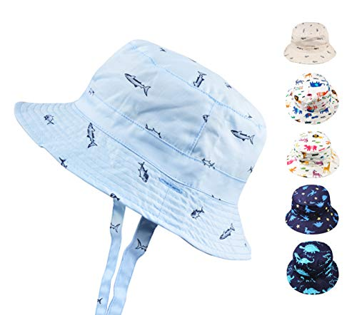 Baby Toddler Kids Animal Breathable Bucket Hat Soft Cotton Sun Ray Protective Hat Adjustable for Grow with Chin Strap 6-12 Months-Blue Fish ()