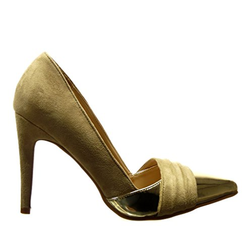 Escarpin Bi Femme Sexy Talon 10 Mode Chaussure Aiguille Cm matière Haut Doré Angkorly Beige Stiletto x0zXEIxw